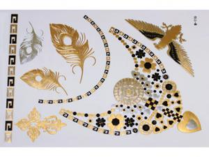 Gold Silver Black | Jewelry Flash Tattoo stickers W-116, 21x15cm - 2824064198