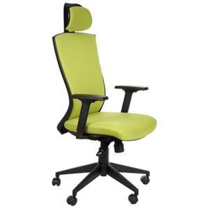 Fotel obrotowy biurowy z mechanizmem synchronicznym, zagłówkiem i regulowanymi podłokietnikami - HG-0004F zielony - 2825223947