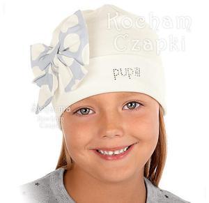 czapka Pupill Alicez kokardą 52-54 cm - mleczny+szaro niebieski - 2832955100