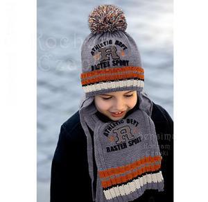 Zimowy komplet chłopięcy czapka z szalikiem rozm. 46-50 cm - szary+pomarańczowy - 2832955256