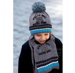 Zimowy komplet chłopięcy czapka z szalikiem rozm. 46-50 cm - szary+turkusowy - 2843313668