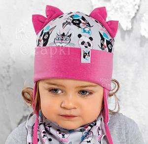 9243aad499a028 Wiosenna/jesienna czapka dla dziewczynki, pieski, kotki i panda, rozm.  46-48 cm Raster