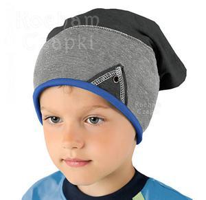 Czapka młodzieżowa Ben rozm. 48-50 - niebieski/szary/grafit - 2845316272