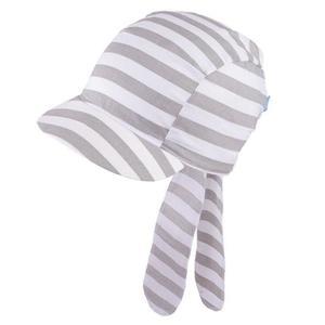 Chustka z daszkiem, bandamka z gumką rozm. 48-52 cm - biało szare pasy - 2852749792