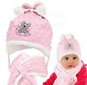 Komplet zimowy czapka z szalikiem Pretty Mouse rozm. 42 - różowy - 2854184251