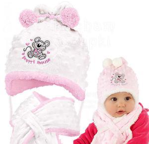 Komplet zimowy czapka z szalikiem Pretty Mouse rozm. 42 - biały + róż - 2854184252