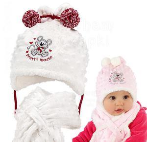 Komplet zimowy czapka z szalikiem Pretty Mouse rozm. 42 - biały + czerwony - 2854184253