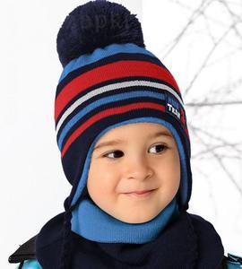 Komplet zimowy czapka + golf Mini Team rozm. 46-50 cm - granat / czerwony - 2856726847