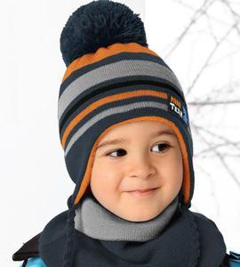 Komplet zimowy czapka + golf Mini Team rozm. 46-50 cm - granat/szary/pomarańcz - 2857525171