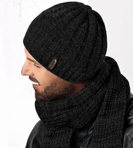 Czapka + szal. Komplet męski, zimowy, czarny BRAD rozm. 56-60 cm - czarny - 2858632813