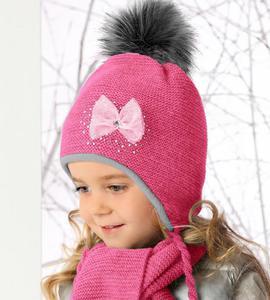Czapka + Szalik z futrzanymi pomponami komplet Sweet Winter rozm. 46-49 cm - soczysty róż - 2858632814