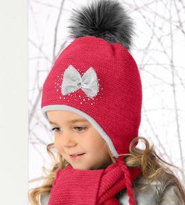 Czapka + Szalik z futrzanymi pomponami komplet Sweet Winter rozm. 46-49 cm - malinowy - 2858632815