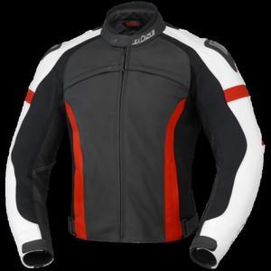 Kurtka motocyklowa skórzana BUSE Vermont czarno-czerwono-biała 48 - 2847784983