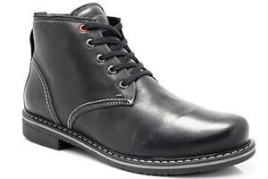 KENT 238 CZARNY - Skórzane buty zimowe ocieplone naturalnym futrem - Czarny - 2841662696