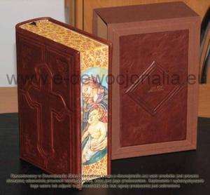 Pismo Święte z malowidłem i etui skórkowo-płóciennym - 2825546098