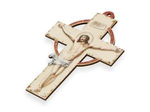 Krzyż pastelowy z wizerunkiem Jezusa - 15cm - 2844809316