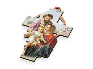 Krzyż pastelowy z wizerunkiem Świętej Rodziny - 15cm - 2844809317