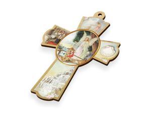 Krzyż pastelowy z wizerunkiem Anioła Stróża - 15cm - 2844809318