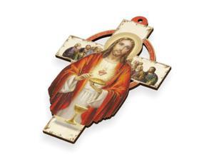 Krzyż pastelowy z wizerunkiem Serca Jezusa - 15cm - 2844809325