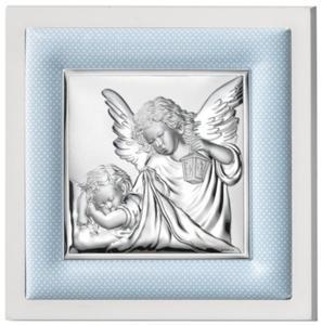 Obrazek srebrny w białej ramie - niebieski 14x14 - 2843241735