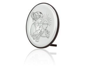 Obrazek srebrny - Komunia Święta - dziewczynka 9x7 - 2843446163