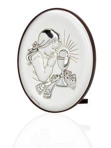 Obrazek srebrny - Komunia Święta - dziewczynka 9x7 - 2847794872