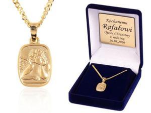Komplet łańcuszek z medalikiem ANIOŁ - złocone srebro - 2847794890