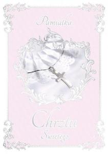 Karnet dla dziewczynki ROYAL PINK kartka na Chrzest  - 2860696964