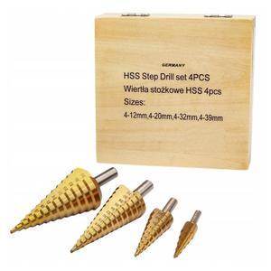 Komplet (4 sztuki) wierteł wielostopniowych stożkowych HSS 4-32, 4-30, 4-20, 4-12mm do metalu (wiertła wiertło stożkowe wielostopniowe) - 2832328308