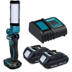 Zestaw akumulatorowe oświetlenie zastępcze DML801 MAKITA latarka 12x LED 18V/14.4V Li-Ion (lampa) w tym 2 akumulatory 18/1.5Ah BL1815N i ładowarka D Zestaw BML801 MAKITA obracana latarka 12x LED 18V/14.4V Li-Ion (lampa) w tym 1 akumulator 14,4/1.3Ah BL1415 i ładowarka DC18RC - 2832332133