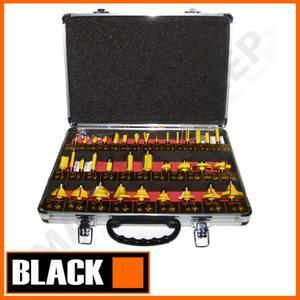 BLACK 35001 zestaw 35-CIU frezów kształtowych do frezarki z tuleją 8mm (frez, frezy do drewna) - 2840823875