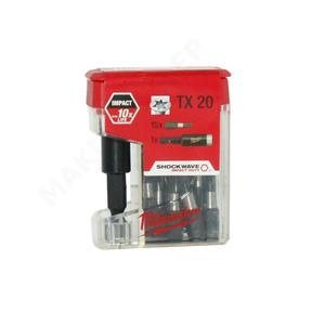 MILWAUKEE 4932430231 IMPACT 10x SHOCKWAVE TX20 Udarowe końcówka wkrętakowa bit, długość 25mm 15 sztuk + magnetyczny uchwyt na bity - 2853278751