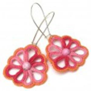 Koralowa pomarańcza kolczyki kwiaty - 2825535351