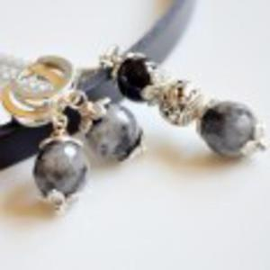 Komplet kolczyki srebrne bigle + naszyjnik agat - 2842695275