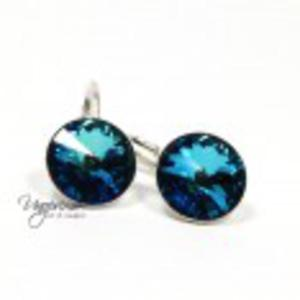 Kolczyki srebrne Rivoli Swarovski Bermuda Blue - 2855295217