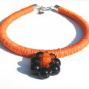 Naszyjnik len i korale szklane Risa - 2857893774