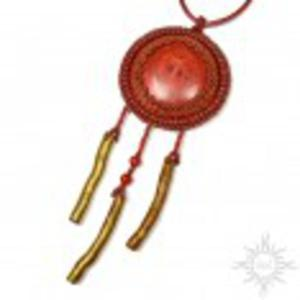 Mercan, wisior z koralem, haft koralikowy - 2860709520