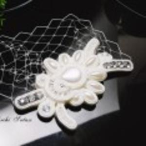 Stroik ślubny biały sutasz z woalką - 2866224389