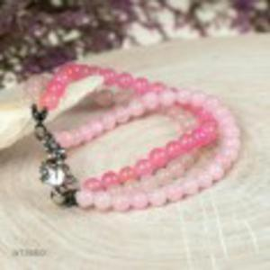 Srebrna bransoleta w pastelowym r - 2860708531