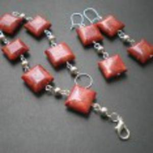 KORALOWY komplet biżuterii - 2825544950