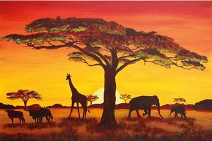 4 PLAKATY Afryka Sunset Safari mapy i NEW YORK - 2862442287