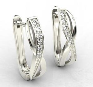Kolczyki z białego złota z diamentami LPK-67B - 2824314720
