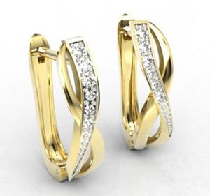 Kolczyki z żółtego złota z diamentami LPK-67Z-R - 2824314721