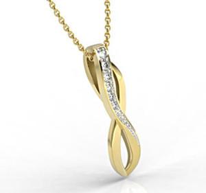 Wisiorek z żółtego złota z cyrkoniami LPW-67Z-R-C - 2824314727