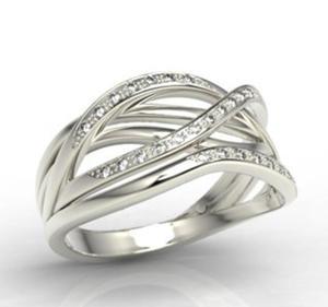 Pierścionek z białego złota z diamentami LP-69B - 2824314728