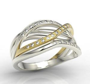 Pierścionek z białego i żółtego złota z brylantami LP-69BZ - 2824314729