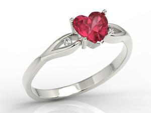 Pierścionek z białego złota z czerwonym topazem w kształcie serca i diamentami LP-71B - 2824314734