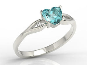 Pierścionek z białego złota z niebieskim topazem w kształcie serca i diamentami LP-71B - 2824314735