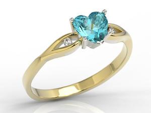 Pierścionek z żółtego i białego złota z niebieskim topazem w kształcie serca i diamentami LP-71ZB - 2824314738