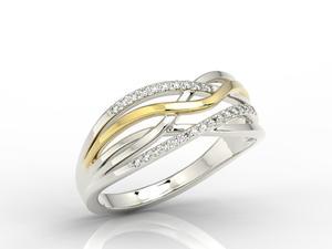 Pierścionek z białego i żółtego złota z diamentami LP-72BZ - 2824314741